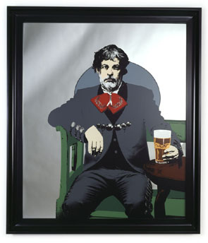 Rodney Graham. A GLASS OF BEER. 2005. Silkscreen on mirror with lacquered frame. 122 x 104 x 6 cm. Courtesy Hauser & Wirth Zürich, London & Donald Young Gallery, Chicago.