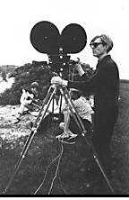 Andy Warhol filming at the Menil's estate, Long Island, New York, 1967. Photo by Billy Name.